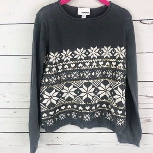 Sonoma Grey Snowflake ❄️ Heart Cozy Sweater Sz 6
